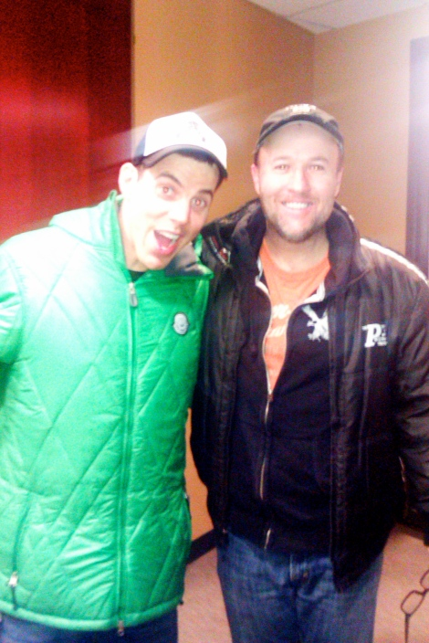 Steve-O and Scott outside the KFAN radio studio in Minneapolis